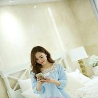 Đồ bộ mặc nhà pyjama phối ren cổ trắng trẻ trung NN441