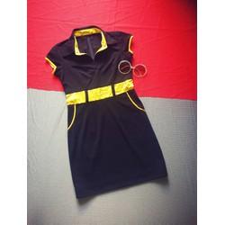 Đầm suông đen viền vàng