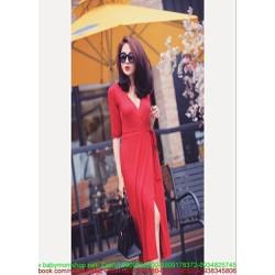 Đầm body tay lở cổ tim thiết kế xẻ đùi thắt nơ xinh đẹp DOV819