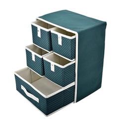 Tủ vải cao cấp 5 ngăn khung cứng chống thấm chấm bi