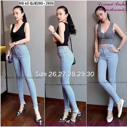 Quần jean nữ lưng cao 1 nút đơn giản form chuẩn đẹp zQJE280