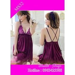 váy ngủ sexy màu tím dây chéo sau lưng