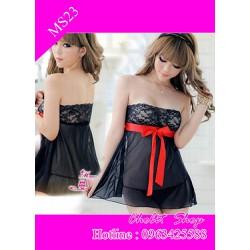 váy ngủ sexy đen huyền bí nhấn nơ đỏ quây ngực gợi cảm
