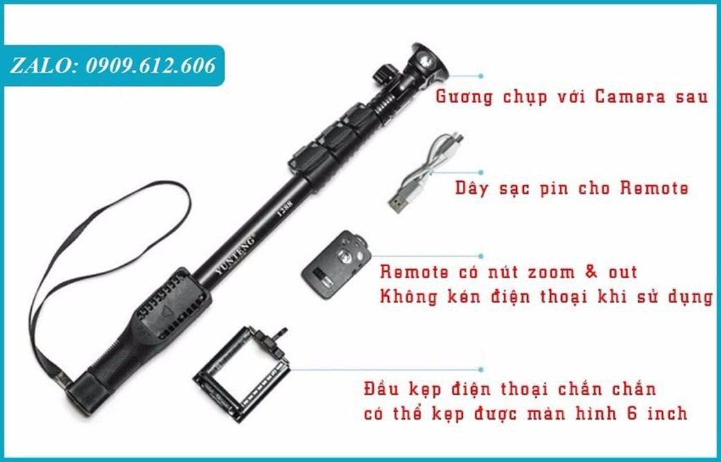Gậy Chụp Hình YunTeng Bluetooth có remote sạc điện usb -1,25m 5