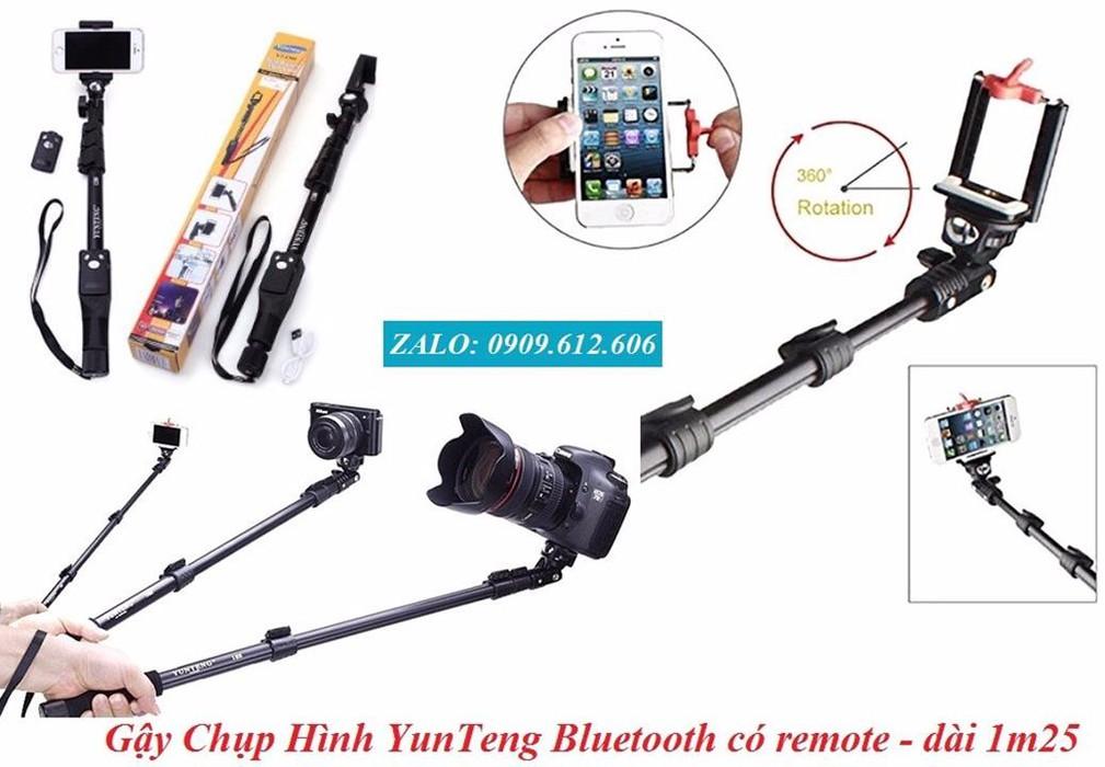Gậy Chụp Hình YunTeng Bluetooth có remote sạc điện usb -1,25m 1