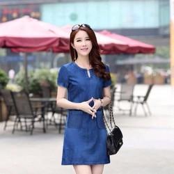 Đầm Jean Cổ V Phối 2 Túi Thời Trang