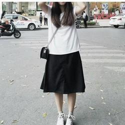 Áo thun trắng trơn cổ thêu chữ X free size A13