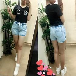 Quần short jeans lưng thun was nhẹ