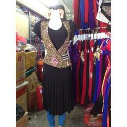Đầm trung niên áo giả vest váy xếp li-H19416