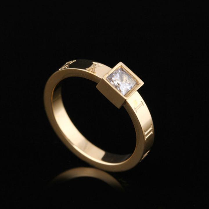 Nhẫn chữ số la mã đính kim cương titan ko đen TITAN 954 1