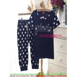 Đồ bộ mặc nhà dạng lửng chữ PINK họa tiết chấm bi dễ thương NN445