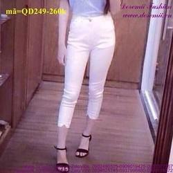 Quần jean lửng lưng cao 1 nút form chuẩn đẹp QD249