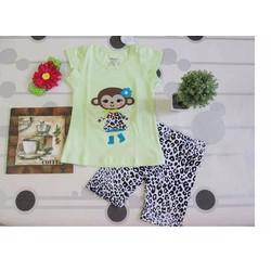 Đồ bộ thun áo xanh chuối phối quần da beo cho bé gái 1-8 tuổi