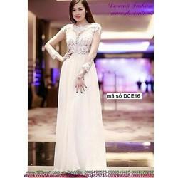Đầm dạ hội cô dâu voan phối ren tay dài sang trọng sDCE16