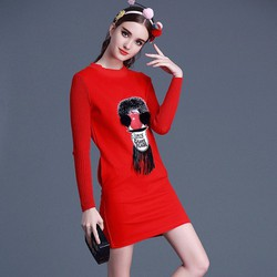 Đầm thun phối tay len hoa tiết