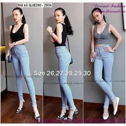 Quần jean nữ lưng cao 1 nút đơn giản form chuẩn đẹp zQJE280  GIÁ 260K