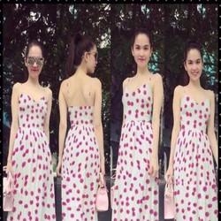 Đầm maxi 2 dây họa tiết hoa đào xinh đẹp như Ngọc trinh DDH310