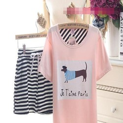 Đồ bộ mặc nhà hình chú cún dễ thương phối quần sọc NN429