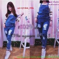 Quần yếm jean dài rách 2 bên cá tính QYB46