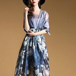 Đầm lụa organza cổ chữ V đặc sắc