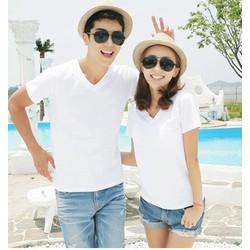 Áo thun cặp đôi trơn cổ tim trắng