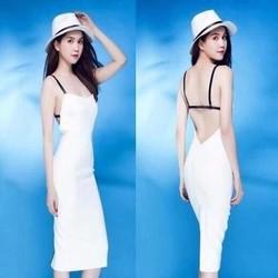Đầm body 2 dây hở lưng sexy và xinh đẹp như Ngọc trinh DOV718