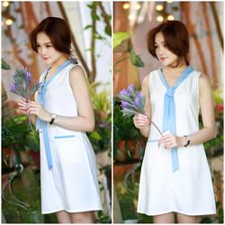 SỈ - LẺ ĐẦM THIẾT KẾ : Đầm suông trắng cột nơ