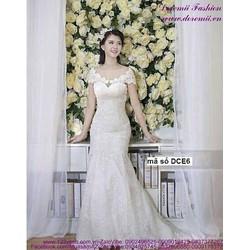 Đầm cô dâu ren lá trể vai sang trọng quyến rũ sDCE6