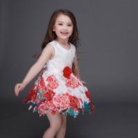 [HÀNG NHẬP LOẠI 1] Đầm Ren Hoa Bé Gái Rực Rỡ Ngày Hè Size 13-35Kg