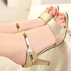 Giày sandal cao gót nữ kim tuyến Enna - LN206