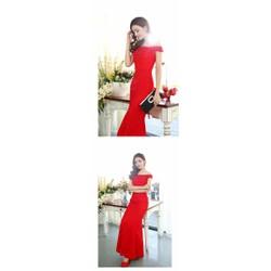 Váy cưới đuôi cà đỏ, váy cưới trễ vai