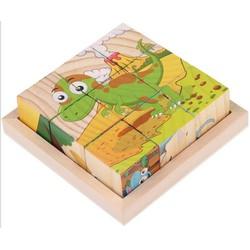 Bộ ghép hình gỗ 6 mặt 9 viên cho bé phát triển trí tuệ sớm