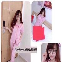 Đồ bộ mặc nhà pyjama phi bóng phối quần dài xinh đẹp DBTN471