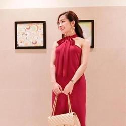 Đầm suông đi tiệc thắt nơ cổ yếm sành điệu xinh đẹp DSV141