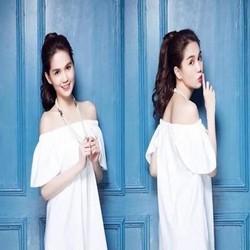 Đầm suông trắng thiết kế bẹt vai xinh đẹp như ngọc trinh DSV145