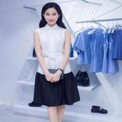 Đầm suông thiết kế phối bèo 2 màu sành điệu dễ thương DSV179