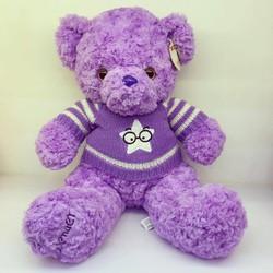 Gấu bông Teddy tím áo len Lavender
