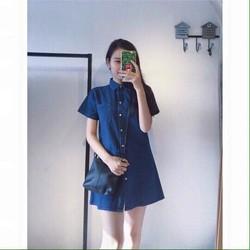 Đầm suông denim màu xanh nhạt