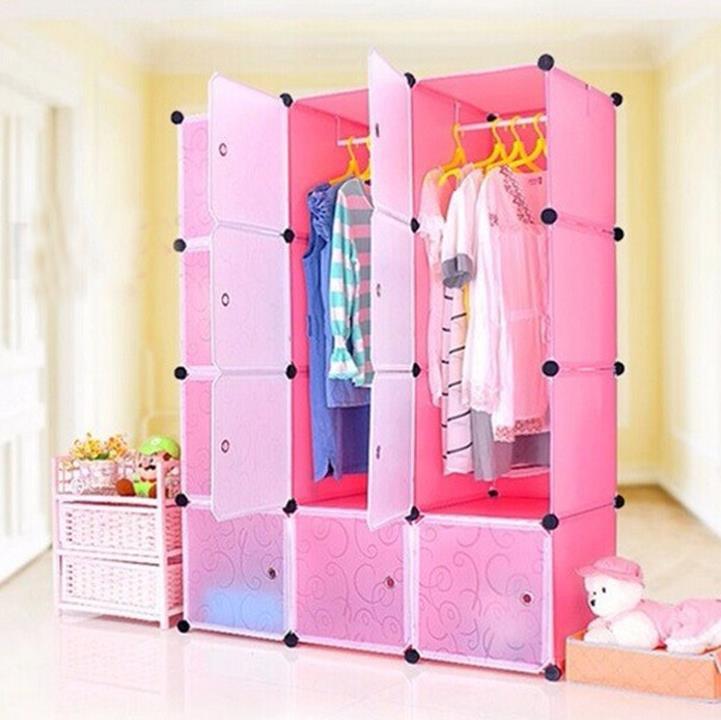 Tủ nhựa đa năng 12 ô màu hồng 1