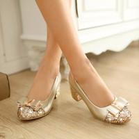 Giày búp bê kim tuyến phối nơ xinh - LN217