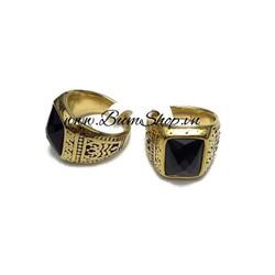 Nhẫn nam mạ vàng thời trang, cẩn đá đen sang trọng