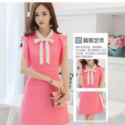 Đầm nữ dáng chữ A, thắt nơ xinh xắn, phong cách Hàn Quốc