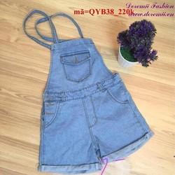 Quần yếm jean short sắn lai phối túi sành điệu QYB38