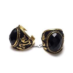 Nhẫn inox đính đá tròn đen, họa tiết rồng