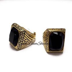 Nhẫn nam inox mạ vàng cẩn đá đen