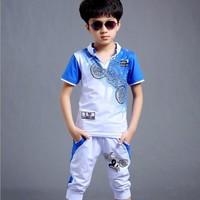 Bộ quần áo lửng cotton cho bé trai cao cấp V307 - Hình thật