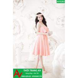 Đầm xòe cúp ngực bèo tầng  Ngọc Trinh - AV3202
