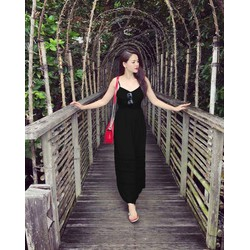 Đầm Maxi 2 Dây Màu Đen Nhẹ Voan Chiffon