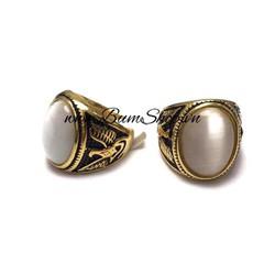Nhẫn nam inox mạ vàng cẩn đá trắng