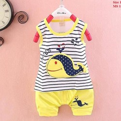 Bộ thun cotton 4c hiệu Zara kids in hình cá voi cho bé 1-8 tuổi.